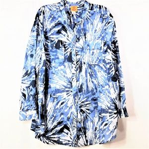 Ruby Rd. Button-up Long Sleeve Cotton Blouse